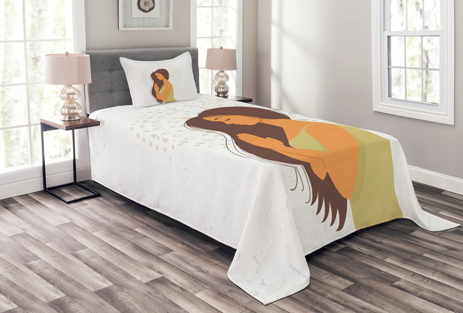 Max 52% Max 79% OFF OFF Ambesonne Yoga Bedspread Cartoon Young in Long Girl Haired Gree