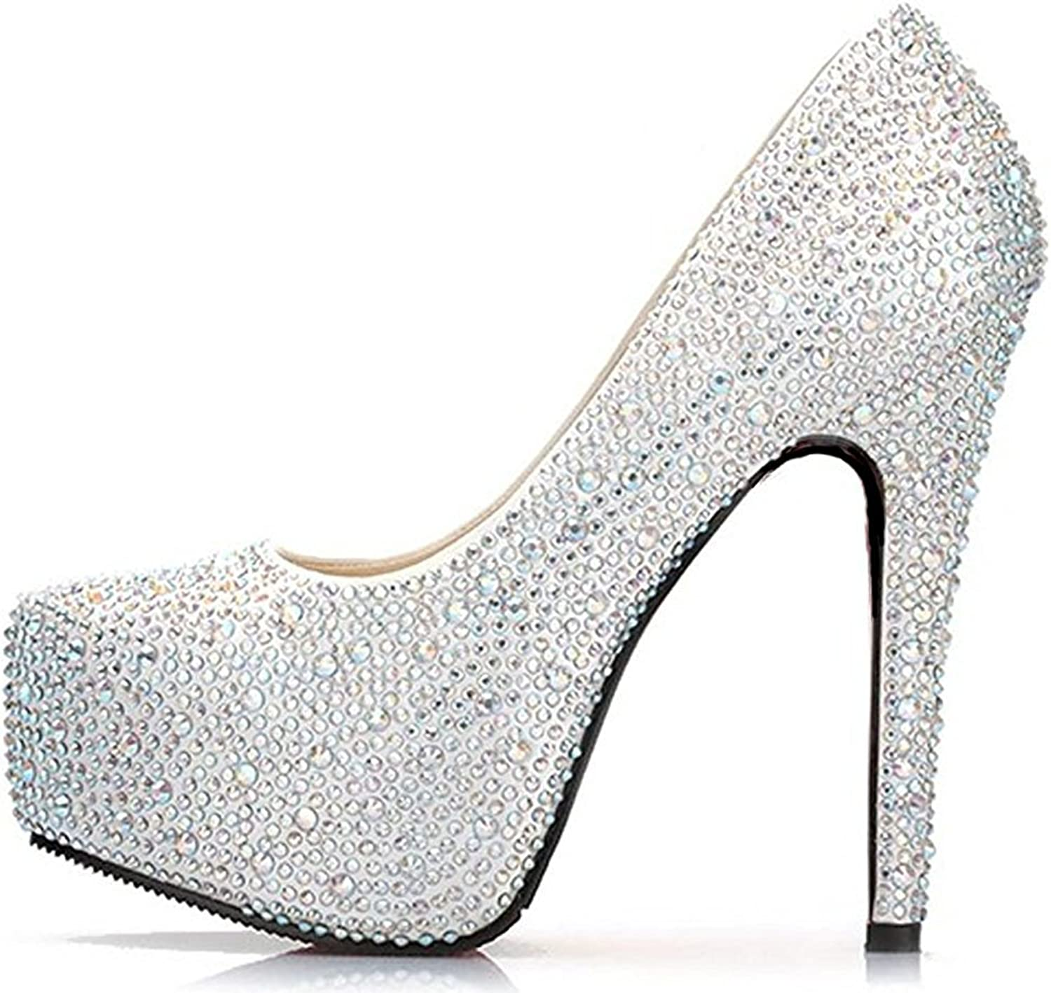 APXPF Women's Glitter Stone Wedding Platforms High Heels Bridal shoes Prom Party Pumps