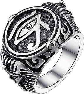 خاتم عين حورس للرجال من الفولاذ المقاوم للصدأ خواتم ختم مصرية الحجم 10
