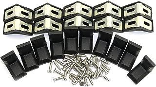 20pcs L Shape Metal Corner Bracket with Plastic Decorative Cover Adjustable Hanging Right Angle Furniture Corner Brace Joint Hardware Fitting Accessories for Shelf Support Black