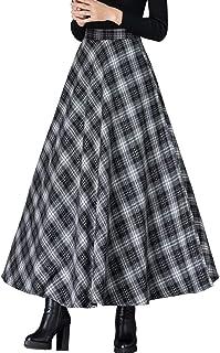 Femiserah Women's Elastic Waist A Line Long Maxi Plaid Wool Skirt Vintage Wool Skirt