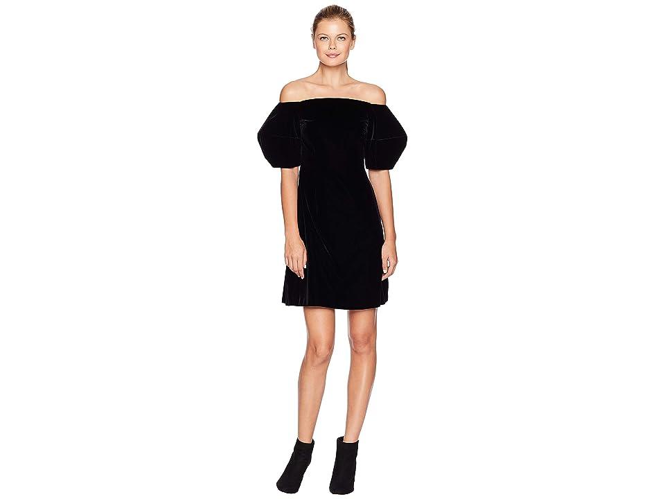 JILL JILL STUART Off the Shoulder Puff Sleeve Dress (Black) Women