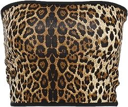 HitZoom Women Off Shoulder Vest Tube Top Stretchy Chest Wrap Leopard Tank Tops