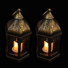 IMIKEYA 2Pcs Vintage Levou Pendurado Luzes de Lanterna de Jardim Suspenso Com Cintilação Da Vela Decorativa Lanterna para ...