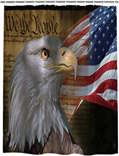 Meet 1998 USA Flag American Patriotic Eagle Shower Curtain,Waterproof Polyester Fabric Bathroom Decor,60 X 72 Inch