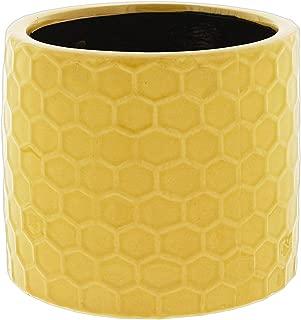 Napco Yellow Honeycomb Pattern Ceramic Planter, 4.5
