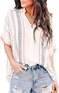 Womens Casual V Neck Striped Cuffed Sleeve Button Down Collar Blouses Shirts Tops