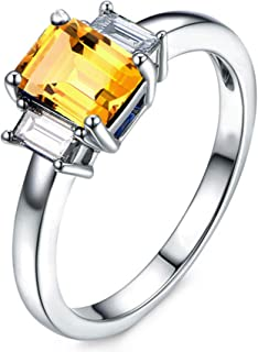 Gnzoe Jewelry-925 Sterling Silver Women Halo Engagement Ring Yellow Created-Citrine November Birthstone