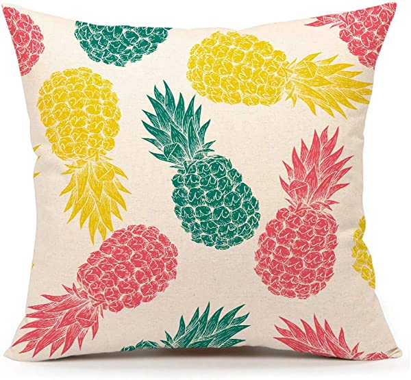 4TH Emotion Colorful Pineapple Pattern Throw Pillow Cover Summer Beach Decor Cushion Case For Sofa Couch 18 X 18 Inch Cotton Linen