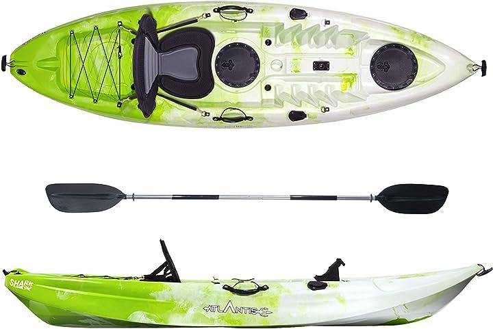 Kayak-canoa shark lime/bianco cm 280-2 gavoni - seggiolino - pagaia - portacanna atlantis B0851DWWBZ