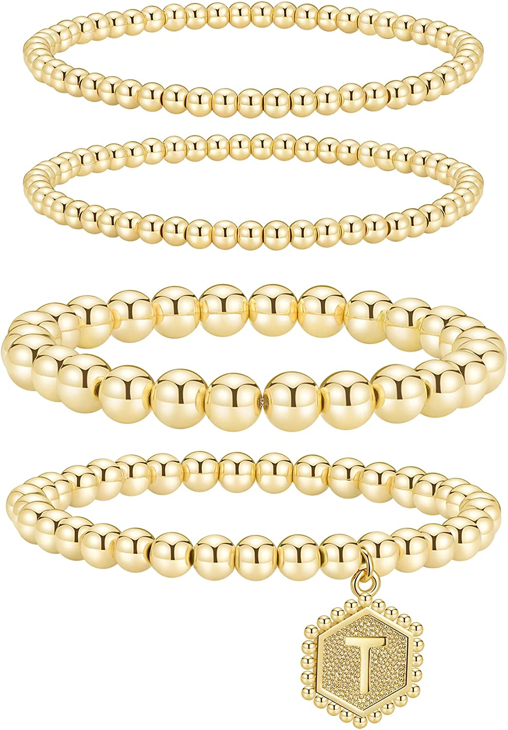 Jollone Gold Beaded Bracelets for Women Set stackable Bead Bracelet 14K Gold Plated Layered Stretch Bracelets for Women Men Gift with Initial Hexagon Pendant
