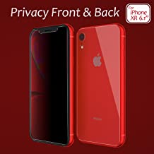 JingooBon Privacy Screen Protector for iPhone XR [New Generation] Front and Back Anti-Spy Tempered Glass Screen Protector Design for iPhoneXR (6.1 inch)