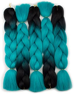 Forevery Braiding Hair Synthetic Ombre Hair Braiding Extensions High Temperature Fiber Crochet Twist Braids Black to Green Ombre Color (24