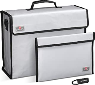 Fireproof Bag,TEROMAS Silicone Coated Double Layers Large (15″ x 12″ x 5″) Fire Safe and Water Resistant Storage for Documents, Money, Jewelry, Passport and Valuables Protection (Silver)