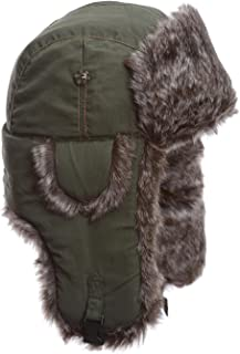 Mad Bomber Olive Supplex with Brown Faux Fur Hunting Trapper Aviator Bomber Hat