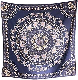 Simpkeely Blue Sketched Floral Medallion Tapestry, Bohemian Mandala Wall Hanging Tapestries, Indian Art Print Mural for Bedroom Living Room Dorm Home Décor 59.1x59.1 Inches(Royal Blue)
