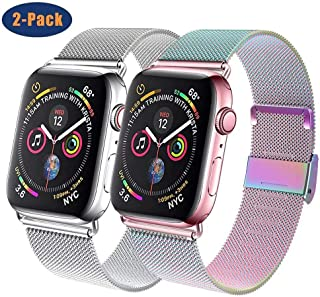 GBPOOT Compatible for Apple Watch Band 38mm 40mm 42mm 44mm, Wristband Loop Replacement Band for Iwatch Series 5,Series 4,Series 3,Series 2,Series 1,Colorful and Silver,38mm/40mm