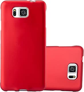 Cadorabo Case Works with Samsung Galaxy Alpha in Metallic RED – Shockproof and Scratch Resistant TPU Silicone Cover – Ultra Slim Protective Gel Shell Bumper Back Skin