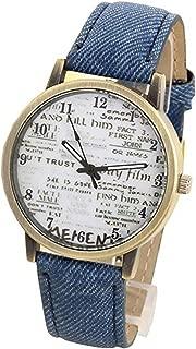 Womens Mens Unisex Quartz Watch,COOKI Unique Analog Fashion Casual Wristwatch,Denim Fabric News Paper Design Watches with Round Dial Case,Comfortable Denim Cloth Band-W57