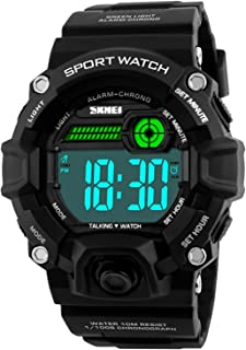 Men Sport Watch Talking Music Alarm Snooze LED Digital Watches Outdoor Military Shockproof Luminous Watch