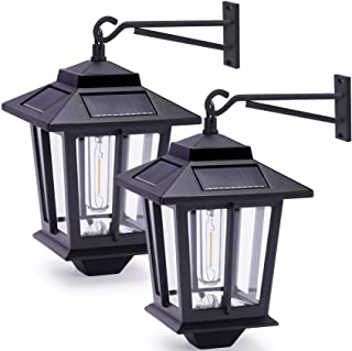 2 Pack Solar Wall Lanterns with 4 Solar Panels, Dusk to Dawn Led Outdoor Wall Sconce , Anti-Rust Waterproof Wall Lanterns ...