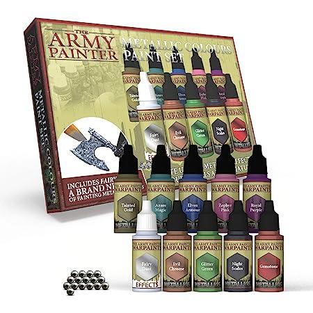 The Army Painter   Metallic Paint Set   10 Peintures Métallisées et 16 Billes de Mélange pour collectionneurs de Figurines Wargames