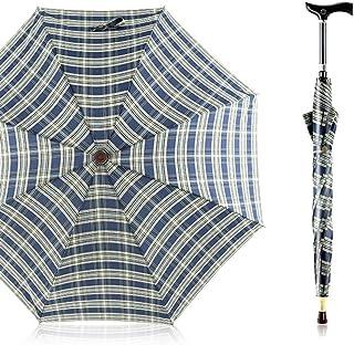 風/格子縞/長柄/杖傘/セパラブル/多機能クライミング滑り止め高齢杖傘(2色からお選びいただけます) (Color : Blue)