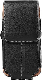 ZZJ Texture PU Leather Vertical Belt Clip Holster for Apple iPhone 8 7 Plus/LG V30/G6/Huawei P20/P20 Pro/Blackberry Motion/KEYone (Black)