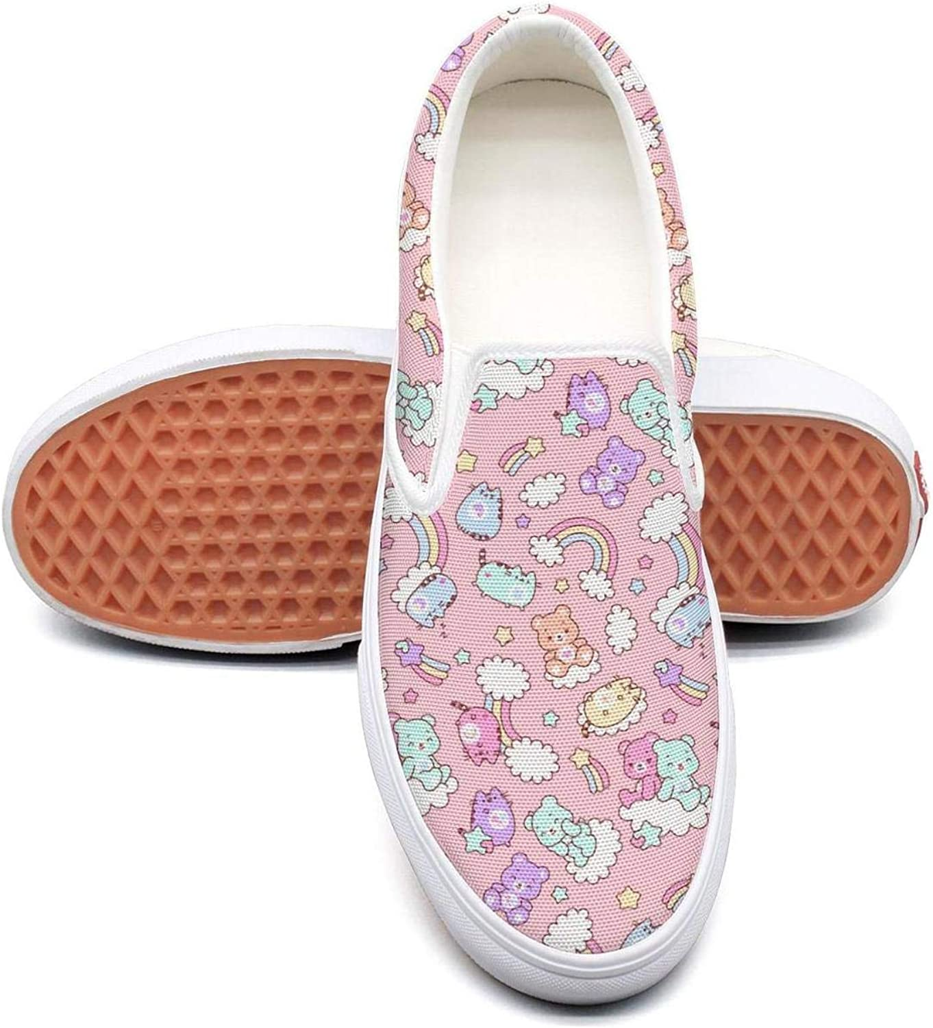 Women's Baby Bear Rainbow Fashion Casual Canvas Slip on shoes colorful Cycling Sneakers