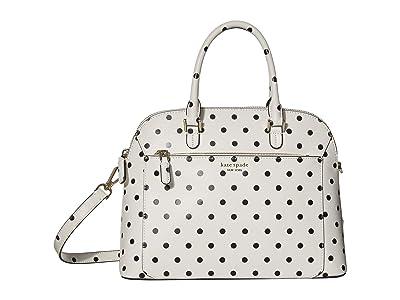 Kate Spade New York Louise Cabana Dot Medium Dome Satchel (Optic White Multi) Handbags