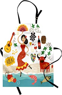 Ambesonne Spain Apron, National Elements Design Bull Guitar and Flamingo Dancer Cartoon Style Composition, Unisex Kitchen Bib with Adjustable Neck for Cooking Gardening, Adult Size, Umber