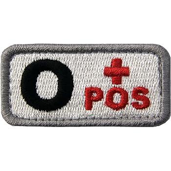 O型 + タクティカル 血液型 刺繍入りマジックテープワッペン 白と赤