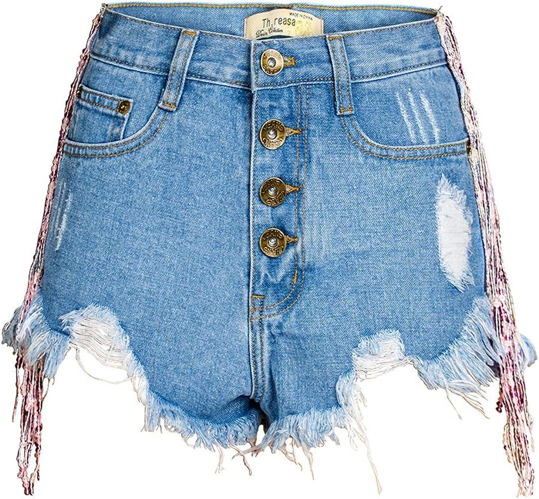 DFLYHLH High Waist Ripped Jean Short for Women Button Tassel Denim Shorts Summer Shorts