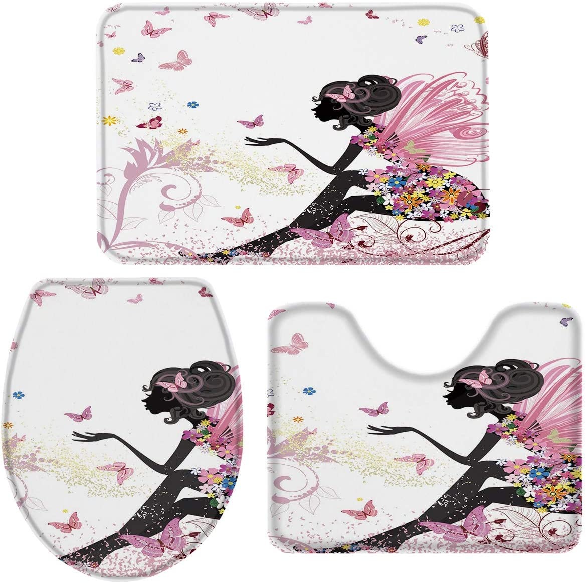3-Piece Bath Manufacturer direct delivery Rug and Mat Sets Award African Butterfly Woman Cartoon N