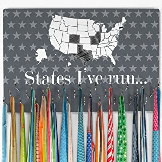 Gone For a Run Hooked On Medals Hanger & Award Display | Running The USA Color in States Map | Gray