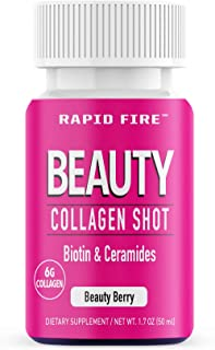 Rapid Fire Beauty Collagen Shot, Biotin & Ceramosides, 6 g Collagen, Beauty Berry Flavor, 1.7 oz. (7 Count)