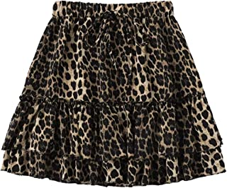 Women's Leopard Print Drawstring Waist Layer Ruffle Hem Short Skirt
