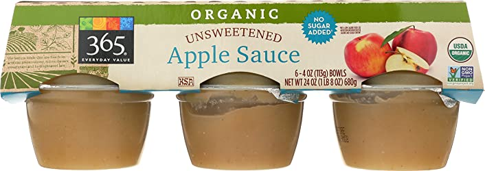 365 Everyday Value, Organic Apple Sauce, Unsweetened  (6 - 4 oz bowls), 24 oz