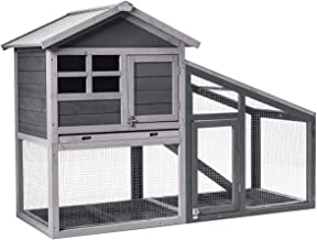 Tangkula Large Chicken Coop with Ventilation Door, Removable Tray, Ramp, Sunlight Panel, Outdoor Indoor Backyard Bunny Rabbit Shelter House, Wooden Bunny Rabbit Hutch