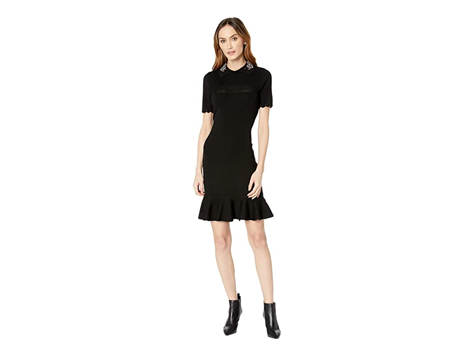 Taylor Embellished Collar Flounce Skirt Sweater Dress (Black) Women