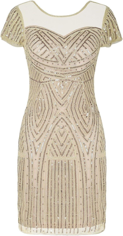 Kayamiya Women's Flapper Dresses Inspired Sequins Cocktail Great Gatsby Dress