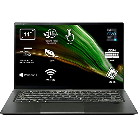 "Acer Swift 5 NU-SF514-55T-5001 - Ordenador Portátil 14"" Full HD, Laptop (Intel Core i5-1135G7, 8GB RAM, 512GB SSD, Intel Evo, Iris Xe Graphics, Windows 10 Home), PC Portátil Color Negro - QWERTY"