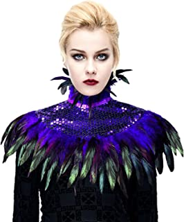 Natural Feather Sequin Shawl Gothic Black Cape With Choker Collar