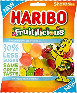 Original Haribo Fruitilicious Gummy Candy Imported From The UK England British Gummy Candy Haribo Fruitilicious Sugar Reduced Sweets Sharing Bag, 120 g