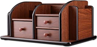 Flexzion Wooden Desk Organizer w/Drawers - Classic Wood Office Supplies Accessories Desktop Tabletop Sorter Shelf Rack Cherry Brown Pencil Holder Caddy Set with 3 Drawers, 3 Compartments & 2 Shelves