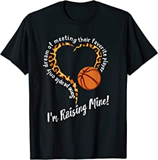 Basketball Mom Mothers day Raising Favorite Player Leopard T-Shirt