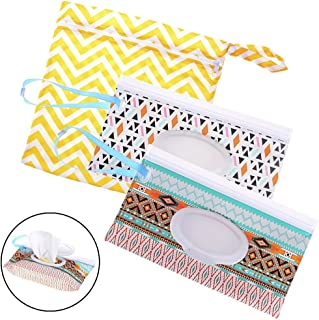 2 Pack Wet Wipe Pouch + 1 Pack Diaper Bag, Travel Wipes Holder Case Reusable Refillable Wet Wipe Bag Travel Wipes Dispenser Portable Baby Wet Wipe Pouches