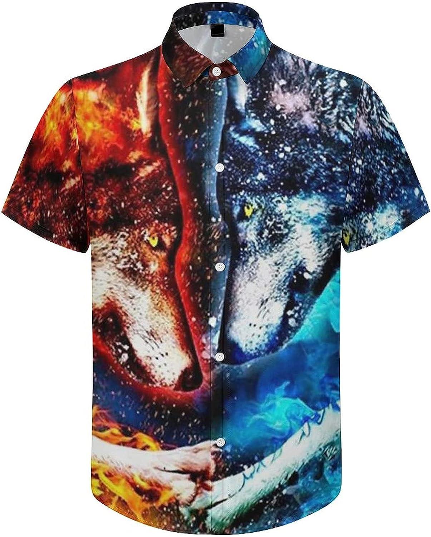 Hawaiian Shirts for Men Water Blue Fox Red Fire Printed Beach Shirt Hawaiian Shirts