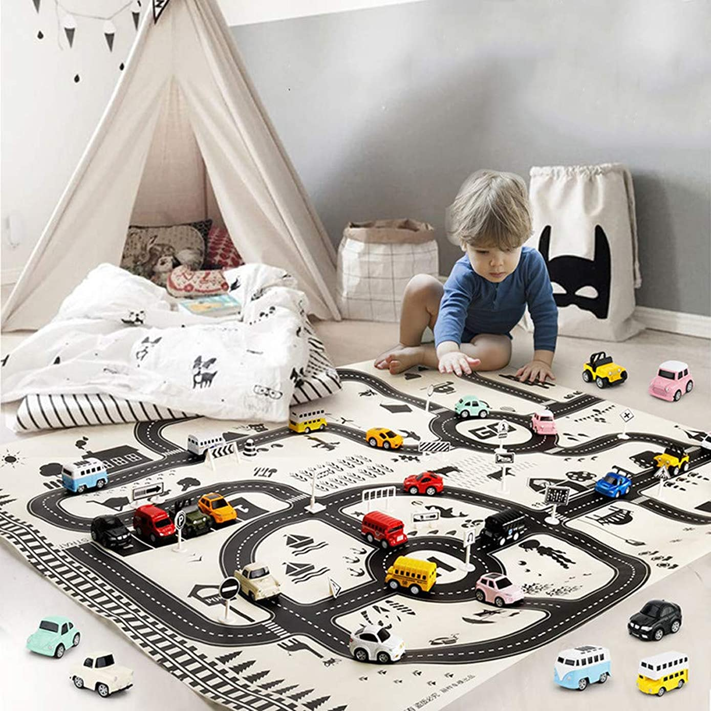 EKIMI Non-Slip Kids Carpet Playmat Rug Great for Cars and Toys, Kids Baby, Children Educational Road Traffic Play Mat for Kidrooms,Playroom and Classroom (Rug)
