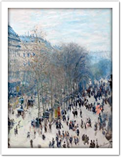 Claude Monet Boulevard Des Capucines Large Framed Art Print Poster Wall Decor 18x24